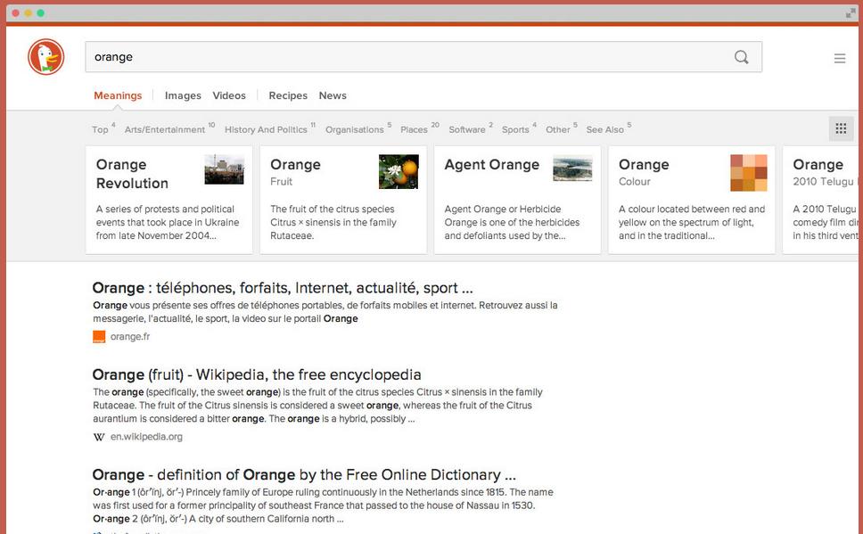 DuckDuckGo recherche orange