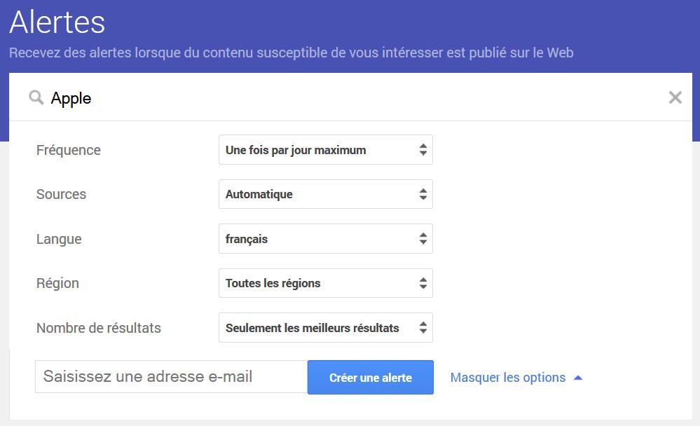 apercu outil de veille Google Alerts