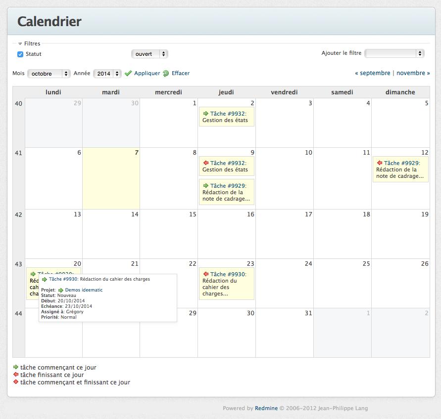 Le calendrier des taches dans Redmine