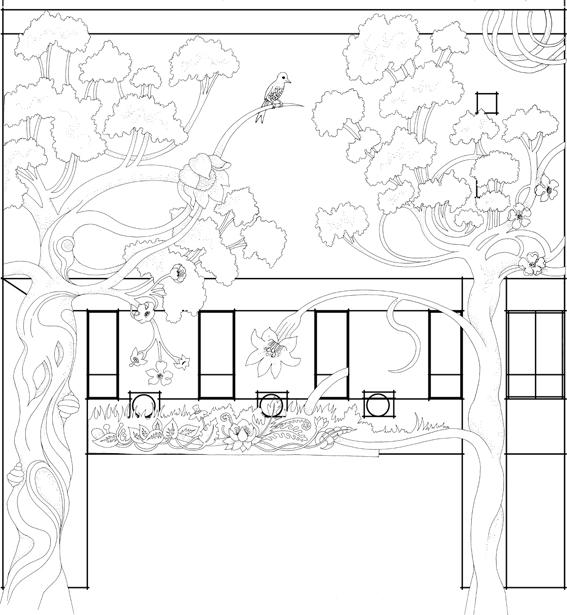 illustrations de Lotie reproduites sur la façade