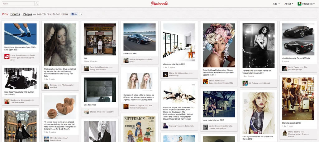 Pinterest et son design en blocs