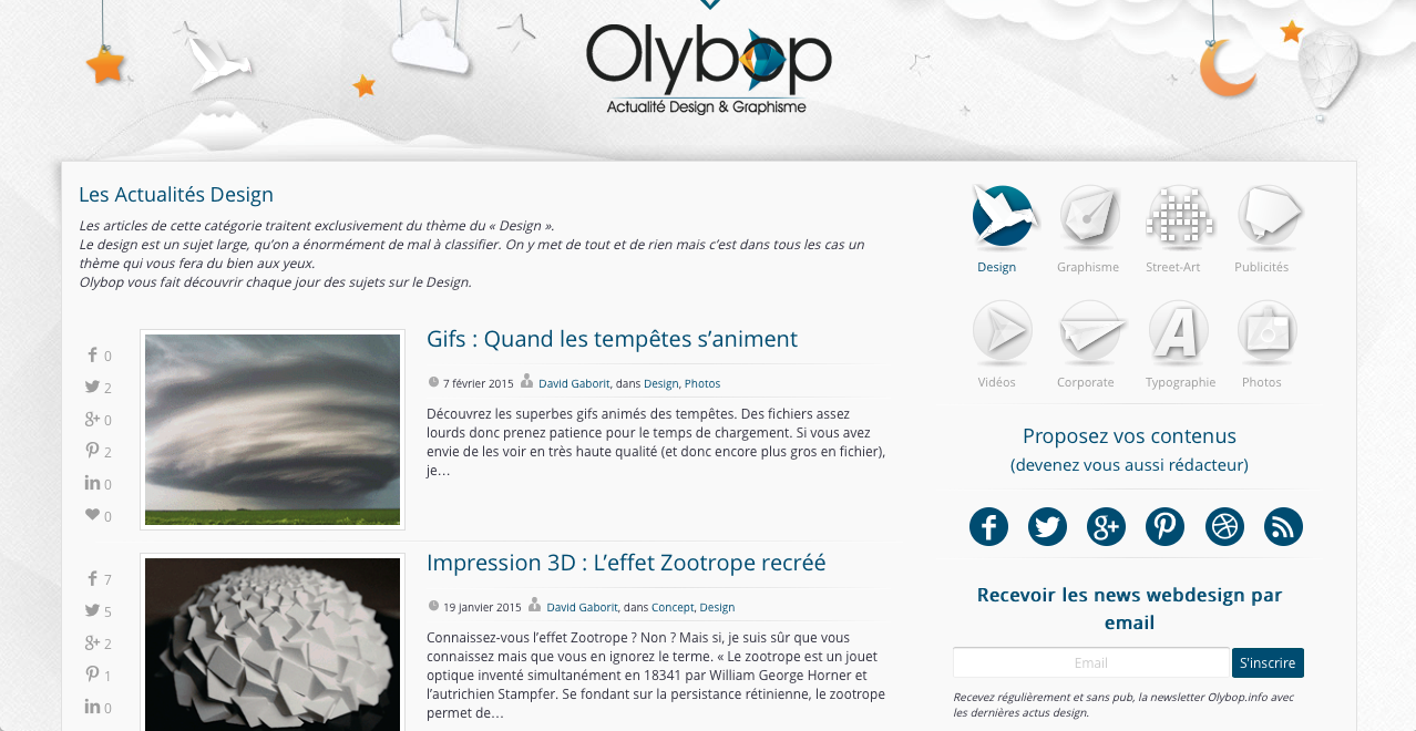 Interface du logiciel de veille Olybop