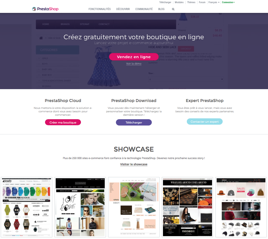 Site ecommerce Prestashop, site officiel