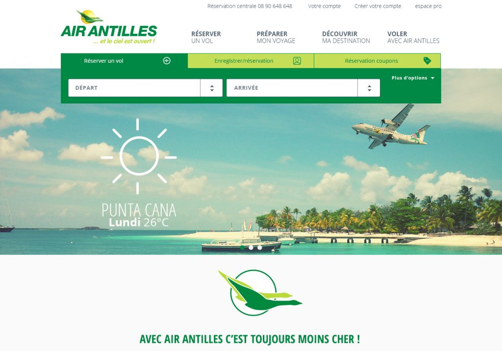 refonte du site air antilles, home page