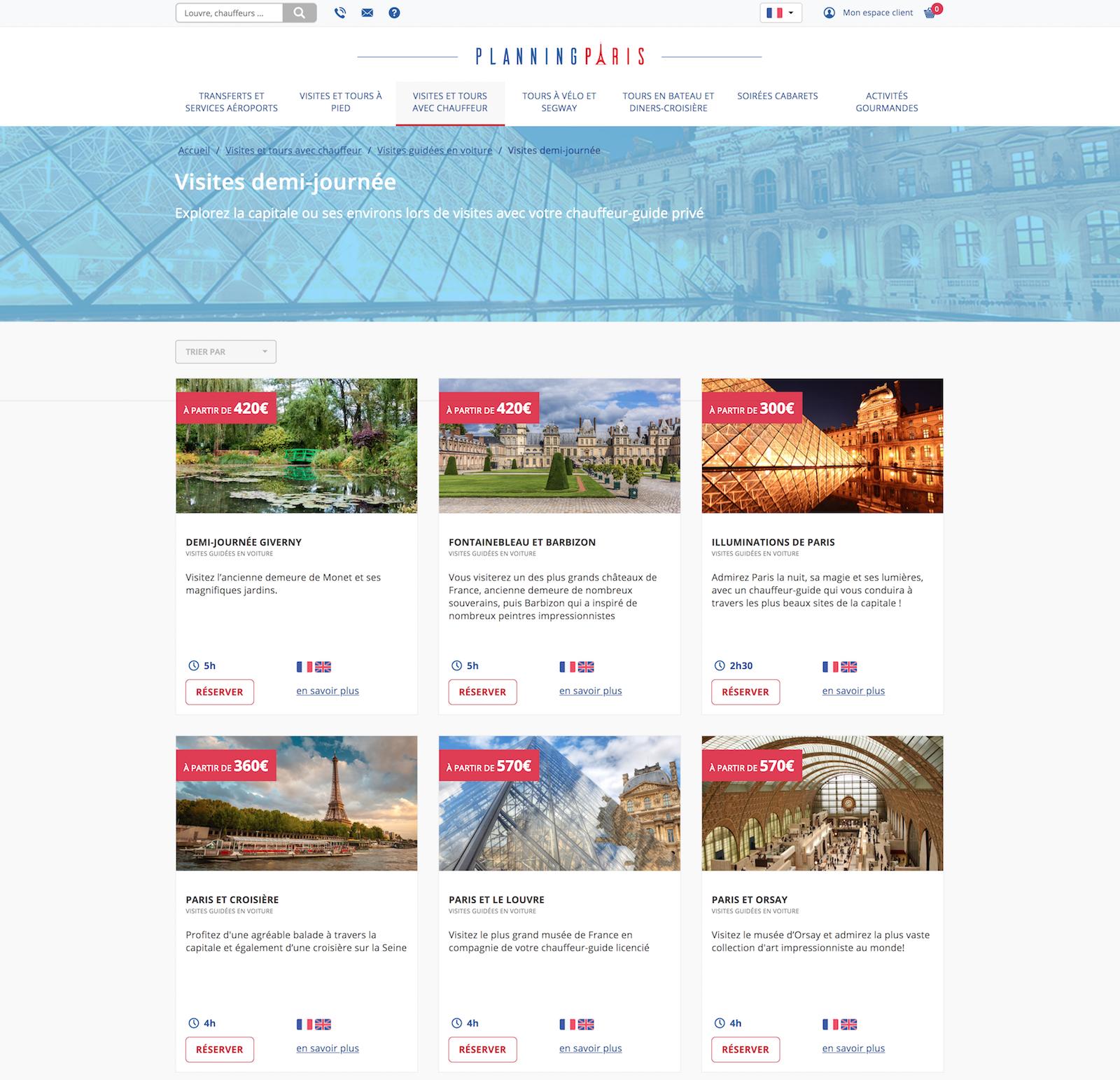 site touristique, vente de prestation pour la découverte de paris et sa culture française