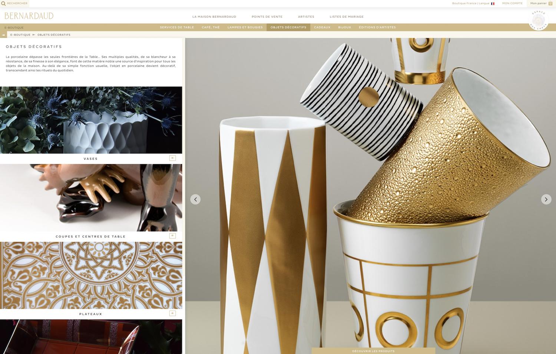 gestion des produits en ligne pour la boutique bernardaud
