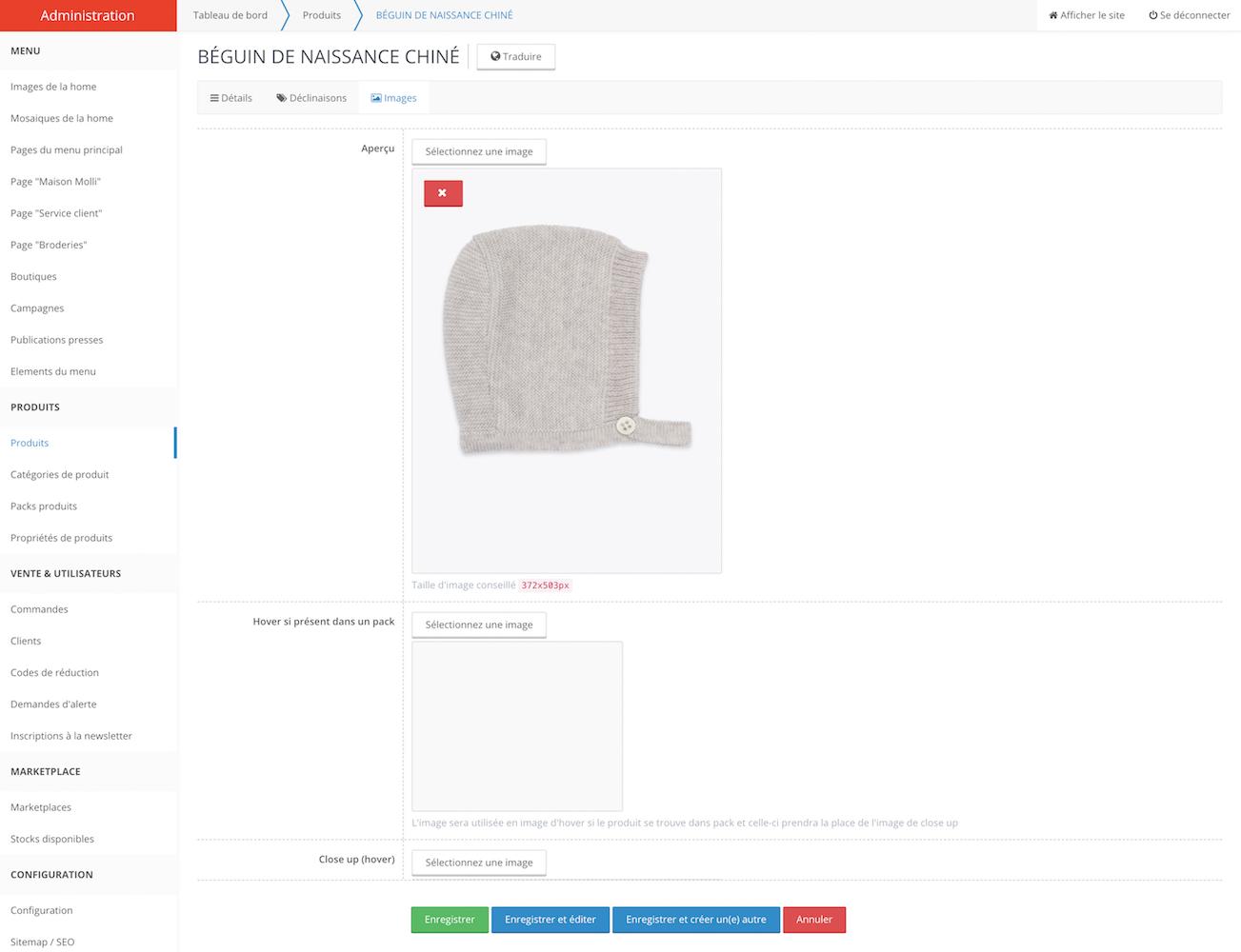 gestion des descriptions et photos des produits en vente en ligne